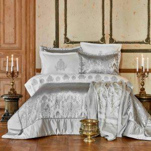 купить Постельное белье с покрывалом и пледом Karaca Home Ilona silver Серый фото