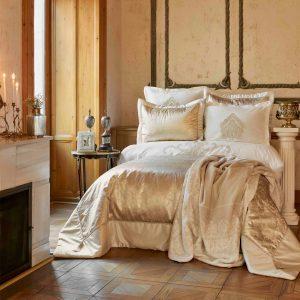 купить Постельное белье с покрывалом и пледом Karaca Home Ofelia gold Золотой фото