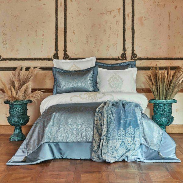 купить Постельное белье с покрывалом и пледом Karaca Home Ofelia mavi Голубой фото