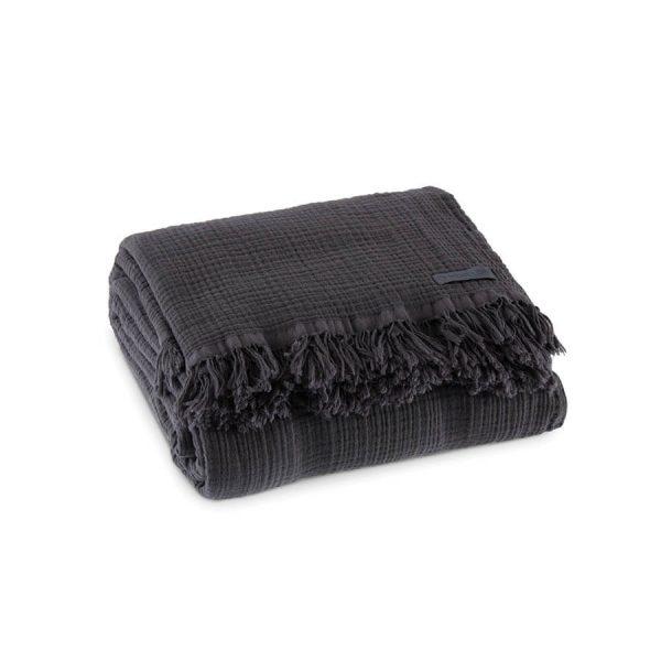 купить Покрывало Penelope Soflin Muslin antrasit Серый Черный фото