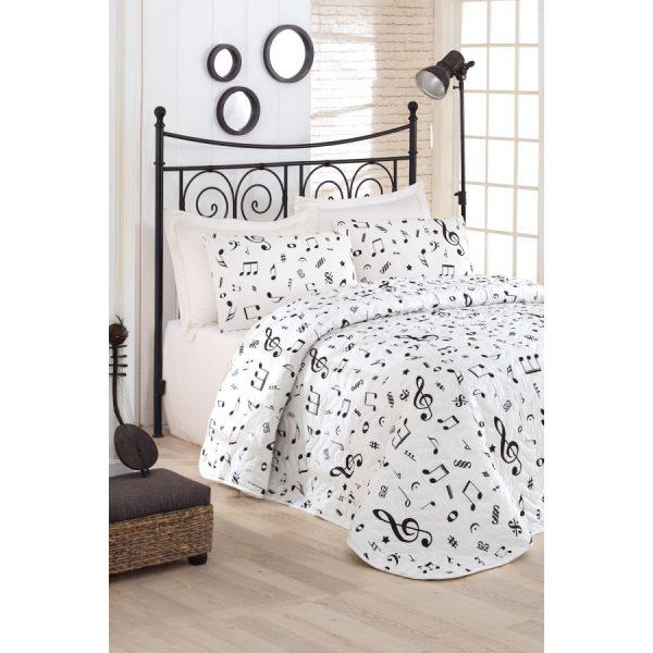 купить Покрывало стеганное с наволочками Eponj Home B&W Melodiy beyaz Белый фото