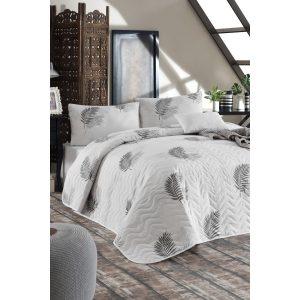 купить Покрывало стеганное с наволочками Eponj Home Palma Gri Серый|Белый фото