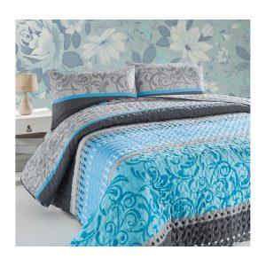 купить Покрывало стеганное с наволочкой Eponj Home Miranda turkuaz Бирюзовый|Голубой фото