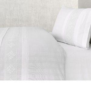 купить Постельное белье Buldans Nazende white king size Белый|Серый фото