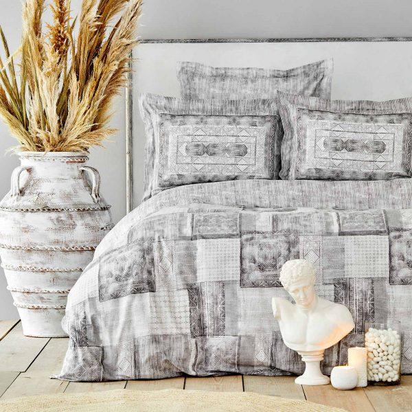 купить Постельное белье Karaca Home ранфорс Carell gri Серый фото