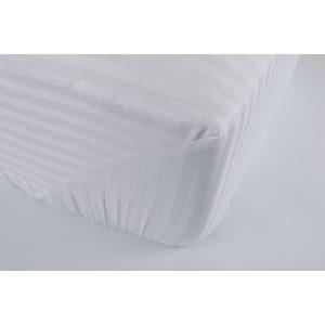 купить Простынь на резинке Lotus Отель Сатин Страйп 1*1 белый Белый фото