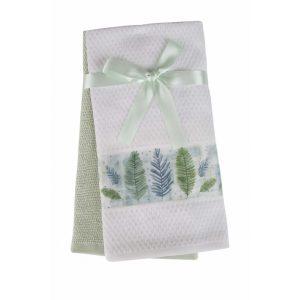 купить Набор кухонных полотенец 2шт Home аnd More-Aliva Белый|Зеленый фото