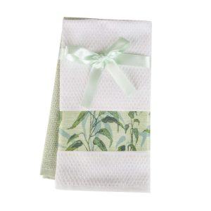 купить Набор кухонных полотенец 2шт Home аnd More-Amori Белый|Зеленый фото