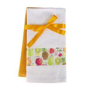 купить Набор кухонных полотенец 2шт Home аnd More-Aster Желтый|Белый фото