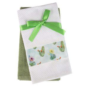 купить Набор кухонных полотенец 2шт Home аnd More-Cereus Белый|Зеленый фото