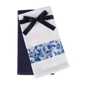 купить Набор кухонных полотенец 2шт Home аnd More-Cora Фиолетовый|Белый фото