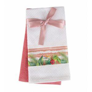 купить Набор кухонных полотенец 2шт Home аnd More-Eden Розовый|Белый фото