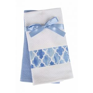 купить Набор кухонных полотенец 2шт Home аnd More-Gina Голубой|Белый фото