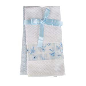 купить Набор кухонных полотенец 2шт Home аnd More-Iris Голубой|Белый фото