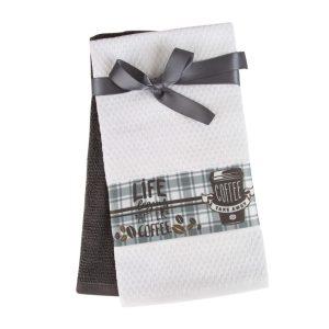 купить Набор кухонных полотенец 2шт Home аnd More-Nya Белый|Серый фото