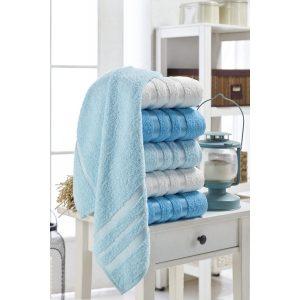 купить Набор полотенец Eponj Home-Vorteks 50x85 6шт flos turkuaz Голубой фото