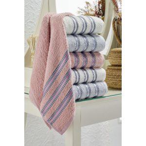 купить Набор полотенец Eponj Home-Vorteks 50x85 6шт makara gri Серый|Розовый фото