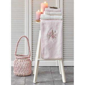 купить Набор полотенец Karaca Home-Goldie pudra-offwhite 4шт Розовый фото