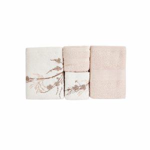 купить Набор полотенец Karaca Home-Lenny bej-offwhite 4шт Бежевый|Кремовый фото