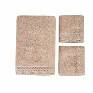 купить Набор полотенец Karaca Home-Lola bej 3шт Бежевый фото