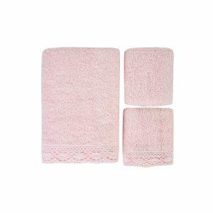 купить Набор полотенец Karaca Home-Lola pudra 3шт Розовый фото