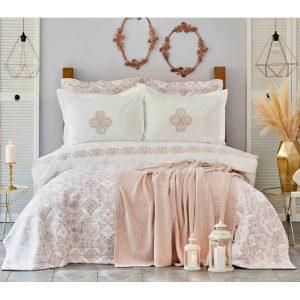 купить Постельное белье с покрывалом и пледом Karaca Home Privat-Celine pudra Розовый|Бежевый фото