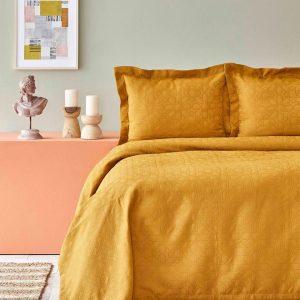 купить Покрывало с наволочками Karaca Home-Back To Basic hardal Желтый|Коричневый фото