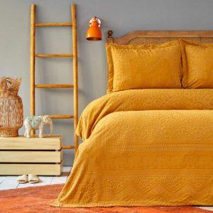 купить Покрывало с наволочками Karaca Home-Bohem hardal пано Желтый|Коричневый фото