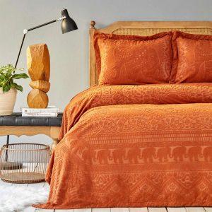 купить Покрывало с наволочками Karaca Home-Bohem terecota пано Оранжевый фото