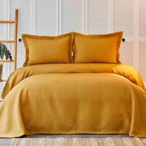 купить Покрывало с наволочками Karaca Home-Charm bold hardal Желтый Коричневый фото