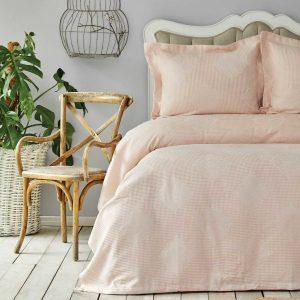 купить Покрывало с наволочками Karaca Home-Eva pudra Розовый|Бежевый фото