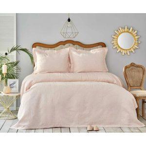 купить Покрывало с наволочками Karaca Home-Liya pudra Розовый фото