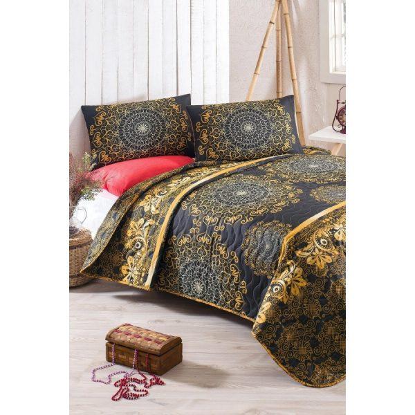 купить Покрывало стеганное с наволочками Eponj Home-Sehri-Ala gold Золотой Черный фото