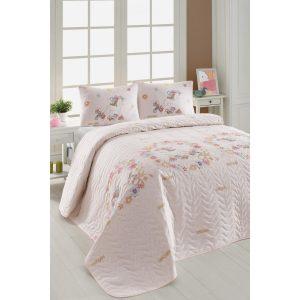 купить Покрывало стеганное с наволочками Eponj Home-Unicornlar pembe Розовый|Кремовый фото