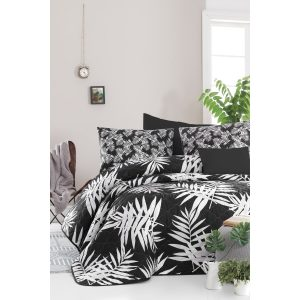 купить Покрывало стеганое с наволочками Enlora Home-Palmie Siyah Черный фото