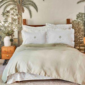 купить Постельное белье Karaca Home-Lilium yesil pike jacquard Зеленый|Кремовый фото
