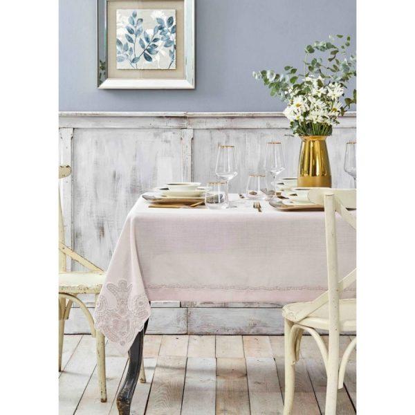 купить Скатерть Karaca Home-Ades pudra Французское кружево Розовый фото