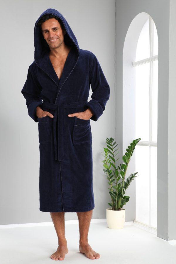 купить Мужской халат Nusa ns 1240 lacivert Синий фото