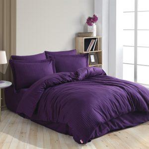 купить Постельное белье Hobby Home Exclusive Sateen Diamond Cizgili фиолетовий Фиолетовый фото