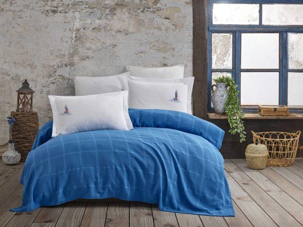 купить Постельное белье с Пике Hobby Home Rainbow Pike Aqua Синий фото