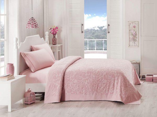 купить Покрывало-простынь махровая TAC Lyon gul 200x220 розовый Розовый фото
