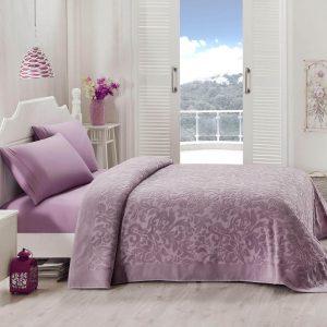 купить Покрывало-простынь махровая TAC Lyon orkide 200x220 фиолетовый Сиреневый фото