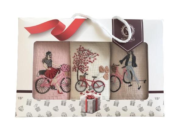 купить Набор кухонных полотенец Nilteks вафельные Bike 40x60 3 шт  фото