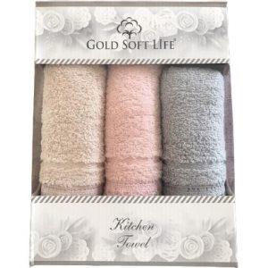 купить Набор кухонных полотенец Gold Soft Life V03 кружево махра 30x50 3 шт  фото
