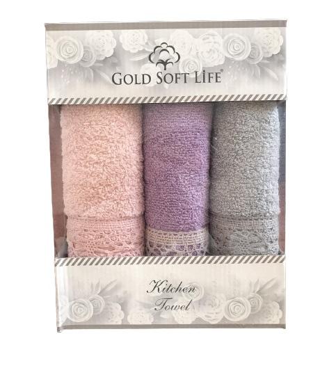 купить Набор кухонных полотенец Gold Soft Life V04 кружево махра 30x50 3 шт  фото