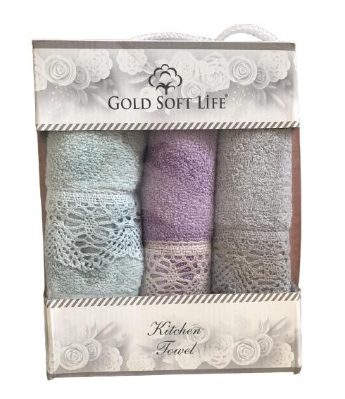 купить Набор кухонных полотенец Gold Soft Life V05 кружево махра 30x50 3 шт  фото