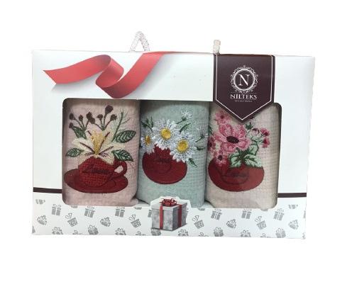 купить Набор кухонных полотенец Nilteks вафельные Bouquets 40x60 3 шт  фото