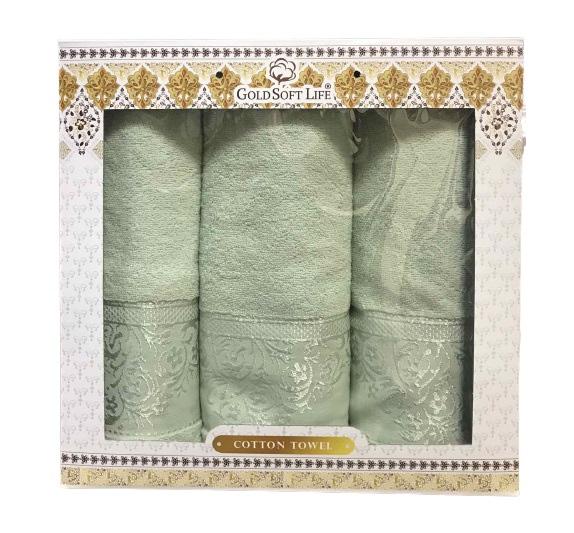 купить Набор махровых полотенец Gold Soft Life Hindistan 50x90 2шт и 70x140 зеленый Зеленый фото