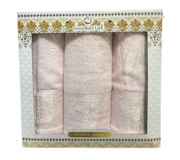 купить Набор махровых полотенец Gold Soft Life Hindistan 50x90 2шт и 70x140 розовый Розовый фото