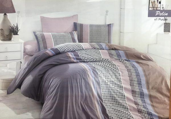купить Постельное белье Zugo Home ранфорс Pelin V1 Лиловый|Серый фото